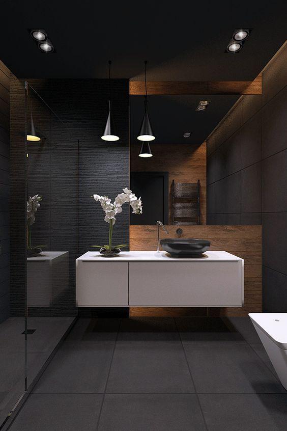 Baño oscuro con encanto | Baños de lujo, Decoracion baños ...