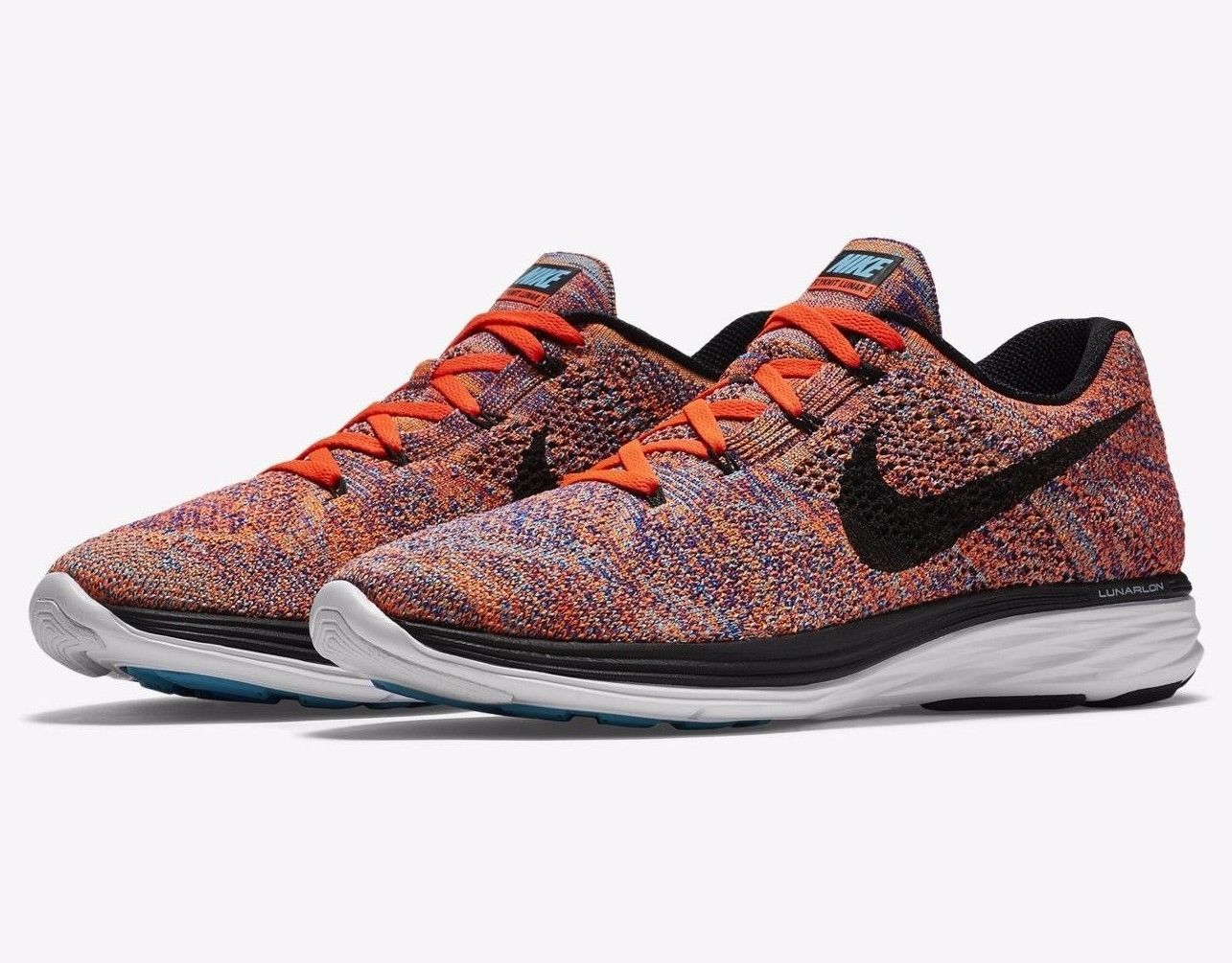 e6402349bc2 Men's Nike Flyknit Lunar 3 Running Shoes Crimson Concord 698181 406 Size  10.5