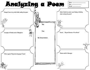 Graphic Organizer For Student To Analyze A Poem  Its Elements