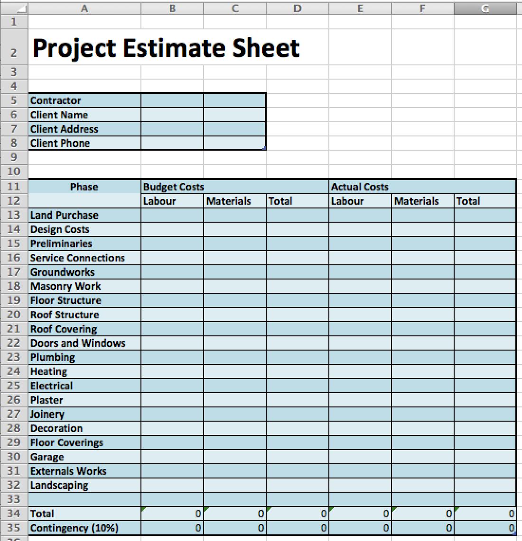 4 Best Design Construction Cost Estimation Methods Fohlio Estimate Template Cost Sheet Budgeting