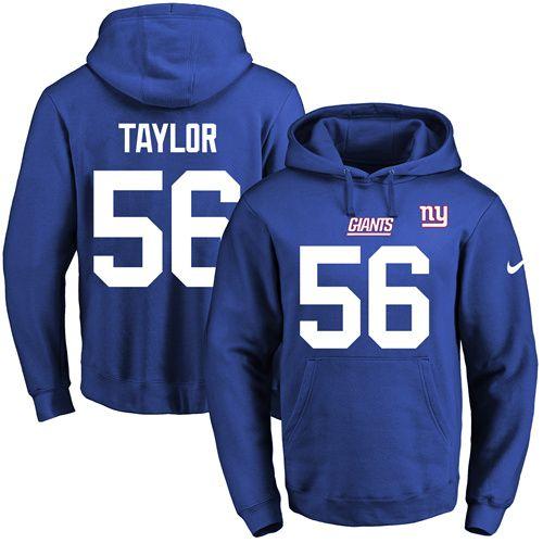 3d74290d177 Nike Giants  56 Lawrence Taylor Royal Blue Name   Number Pullover NFL Hoodie