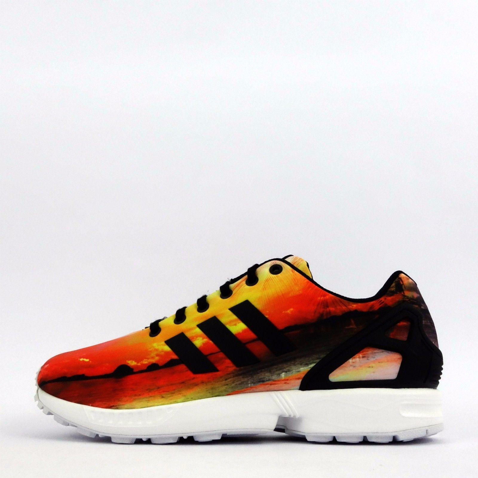 cdd24695be479 adidas Originals ZX Flux Beach Palm Tree Mens Trainers Shoes Black Yellow