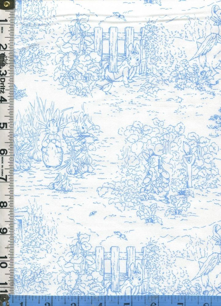 Fabric  VICTORIAN GARDEN TALES Beatrix Potter Peter Rabbit TOILE BLUE 1yd, 17 in.  More expensive than other Ebay listings for this fabric. Maybe due to size/amt. of fabric?