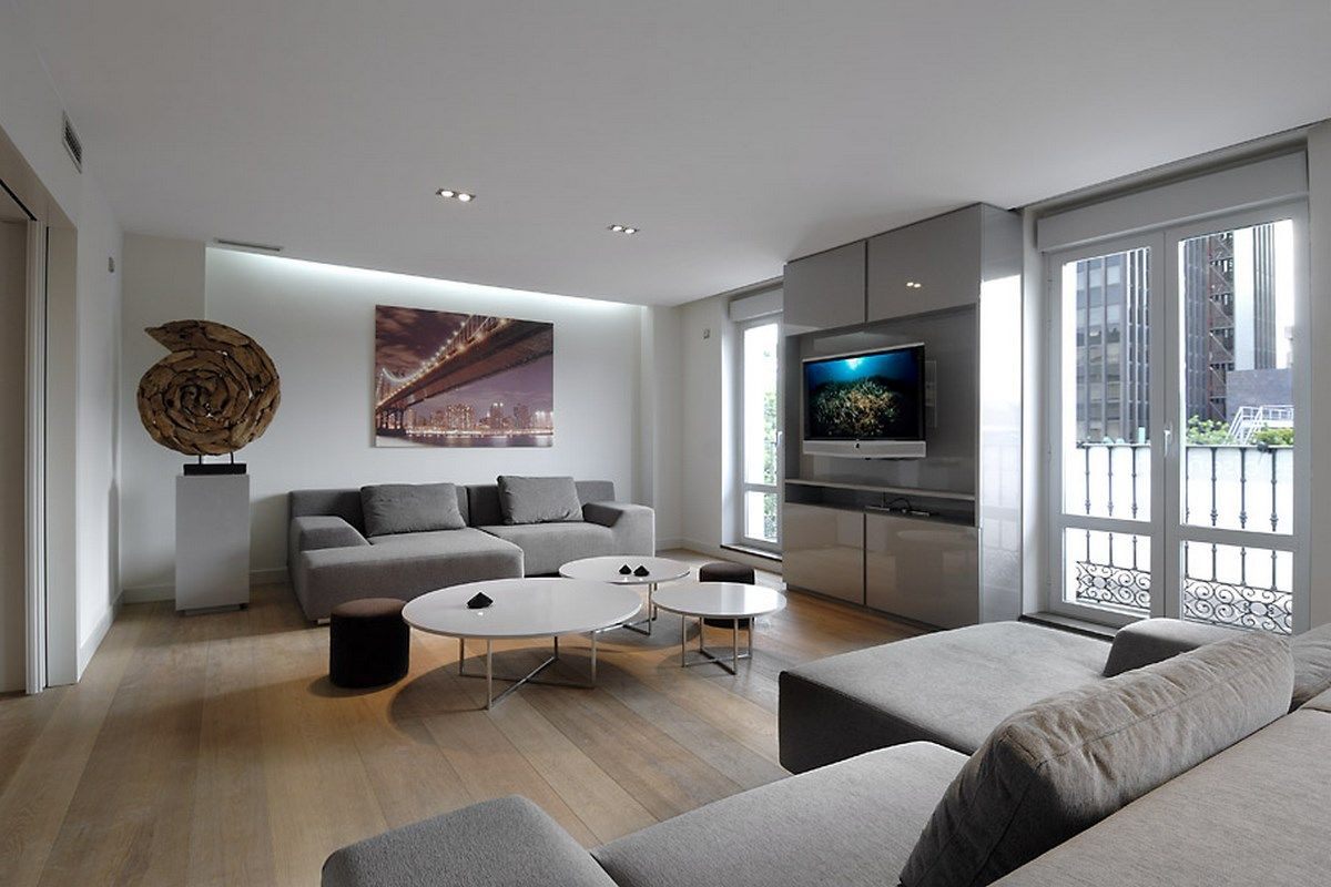 Contemporary living room in white and grey design ideas 4 for Modern apartment living room design