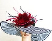 NEW Church Kentucky Derby BLACK & WHITE Hat Feathers Wide Brim Womens Dress Wedding Tea Party Ascot