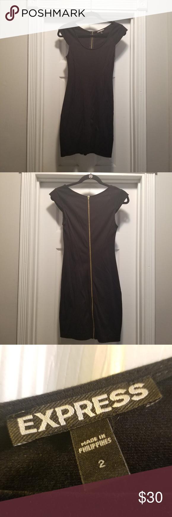 Express Black Mini Dress W Full Zipper Back Mini Black Dress Mini Dress Black Mini [ 1740 x 580 Pixel ]