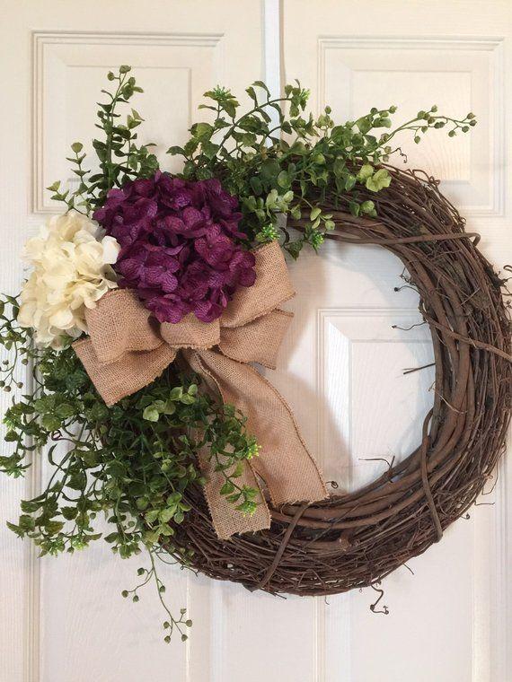 Ähnliche Artikel wie HYDRANGEAS WREATH,Wreath,Purple Hydrangeas , Summer Wreath,Grapevine Wreath, Fall Wreath,Hydrangea Wreath,Front Door Wreath,Boxwood Wreath auf Etsy