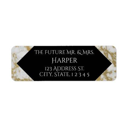 Gold Marble Stone Border Wedding Return Labels - marriage gifts diy