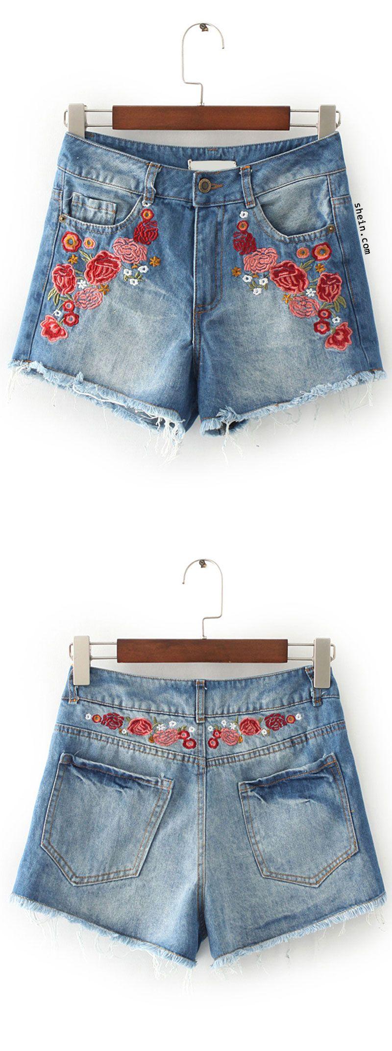 Blue flower embroidery raw hem denim shorts denim