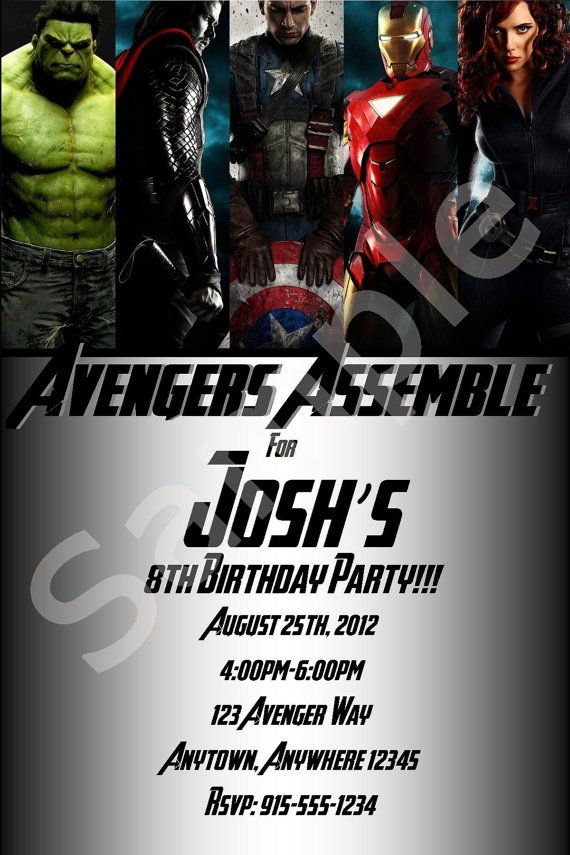 Custom Avengers Birthday Invitations