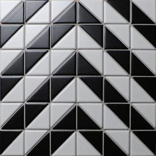 Chevron Black White Porcelain Triangle Mosaic Tile