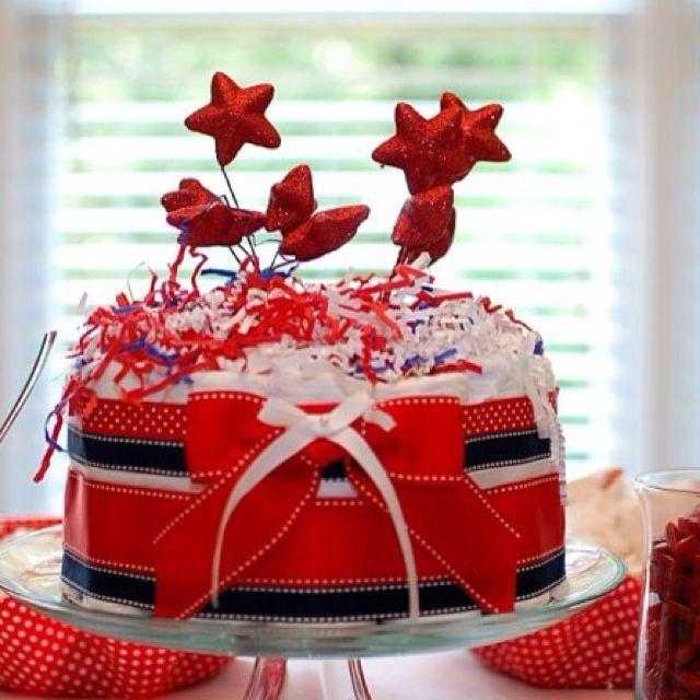 4th of July Baby Shower Diaper Cake   Baby Girl Shower ...