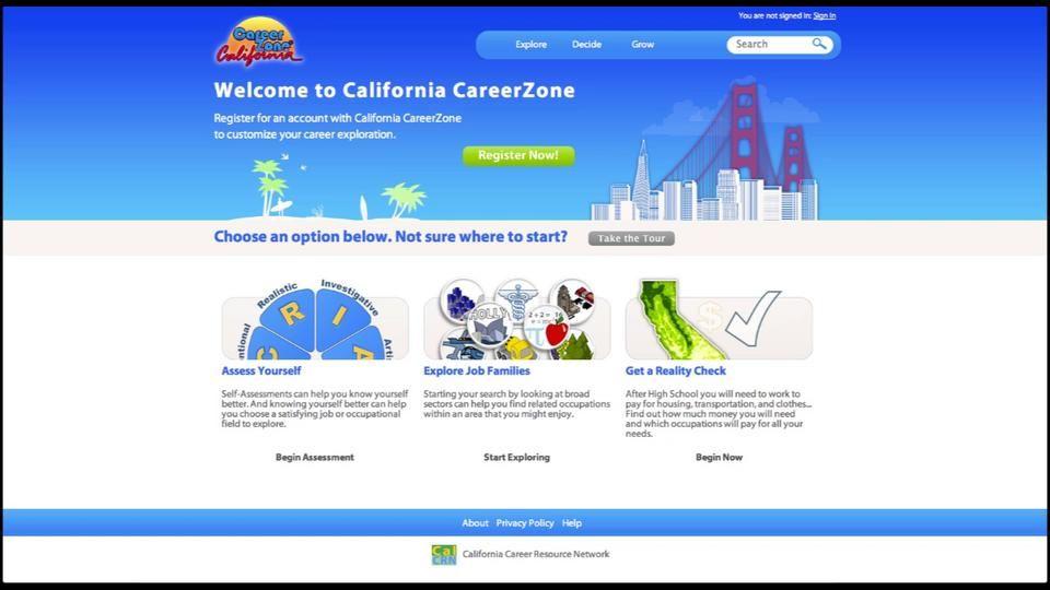 California careerzone walkthrough career exploration