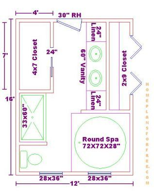 13 x 12 bathroom design master bathrooms 12x16 free floor plan with round whirlpool spa - Bathroom Plans Free