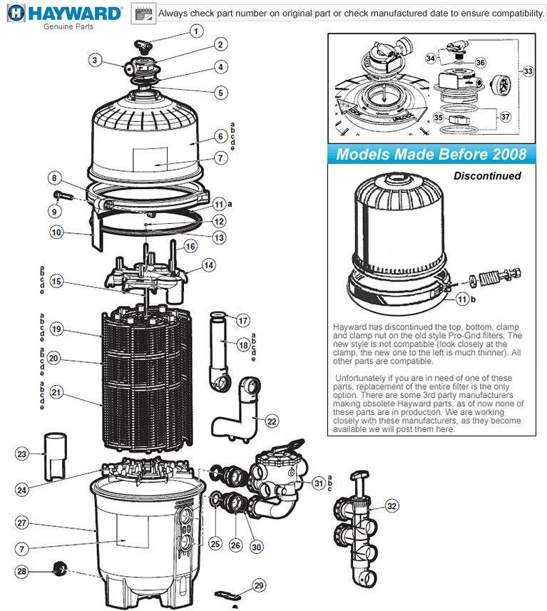 Hayward progrid de filter parts models de2420 de3620