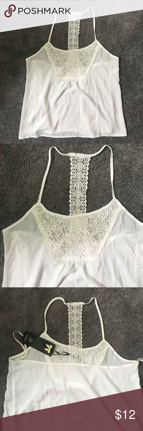White crochet lace blouse ! White crochet lace blouse very pretty brand new size L but can also fit a M Tops Blouses