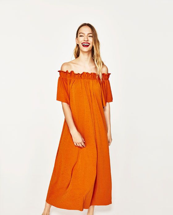 Image 2 Of Long Dress With Exposed Shoulders From Zara Kadin Modasi Kadin