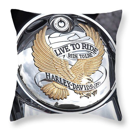 Harley Davidson Live to Ride golden eagle emblem covers for throw pillows or scatter cushions in various sizes for home decor #homedecor #cushioncovers #harleydavidson #biker #mancave #interiordesign #throwpillows