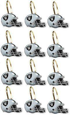 Oakland Raiders NFL Football Team Set Of 12 Bathroom Shower Curtain Hooks By Northwest