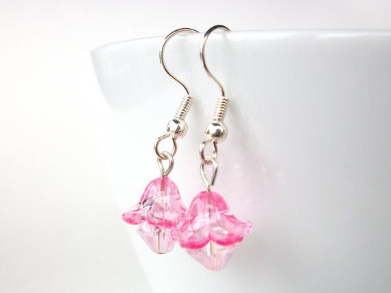Pink flower earrings with pink AB crystal beads by StarJewels, $5.00 #RT #BNS
