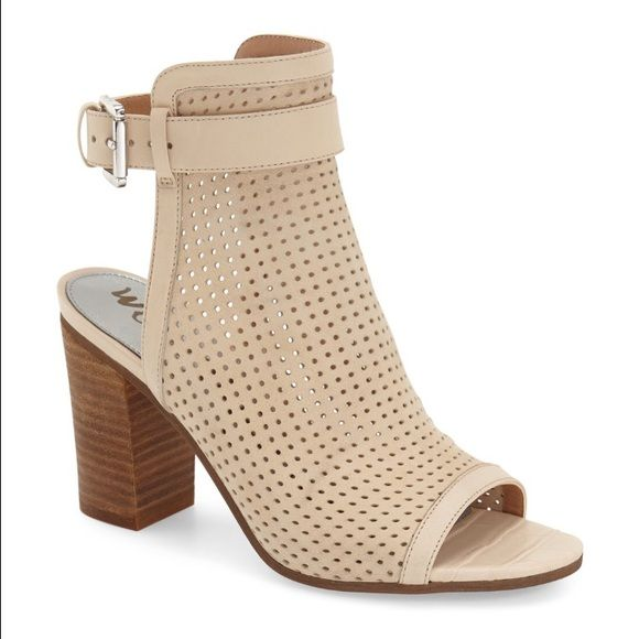 Sam Edelman Open Toe Booties Off white Sz 10 will fit a 9.5 IMO. Cute booties great transition into Spring/Summer. Worn twice. *Last pic to show style on* Sam Edelman Shoes Lace Up Boots
