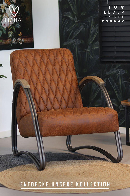 Ledersessel Ivy Industrial Design Cognac Ledersessel Sessel Industrie Stil Inneneinrichtung
