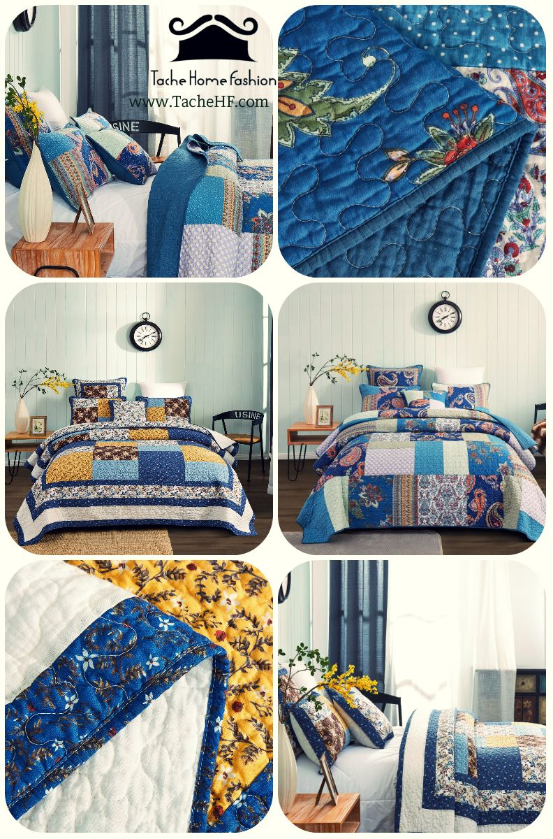 Tache Prairie Sunset Floral Farmhouse Cotton Patchwork Quilt Set