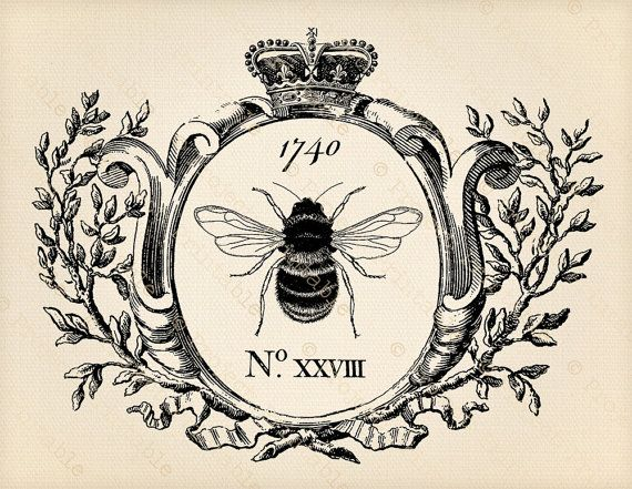 Printable Clipart Vintage Honey Bee Graphics In Frame Crown