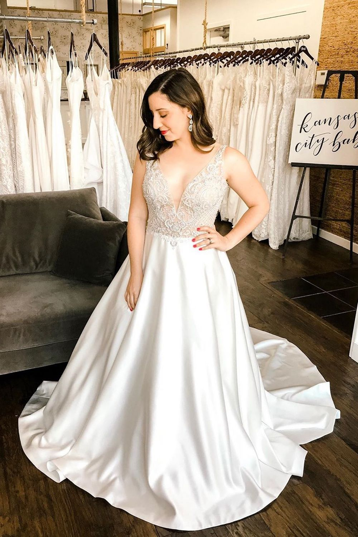 Duchess Satin & Beaded Wedding Dress by Casablanca Bridal
