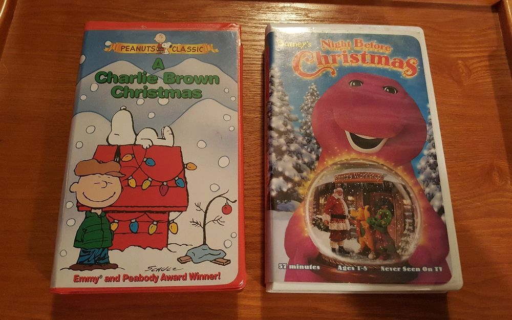 2 CHRISTMAS VHS TAPES Charlie Brown Christmas & Barney\'s Night ...