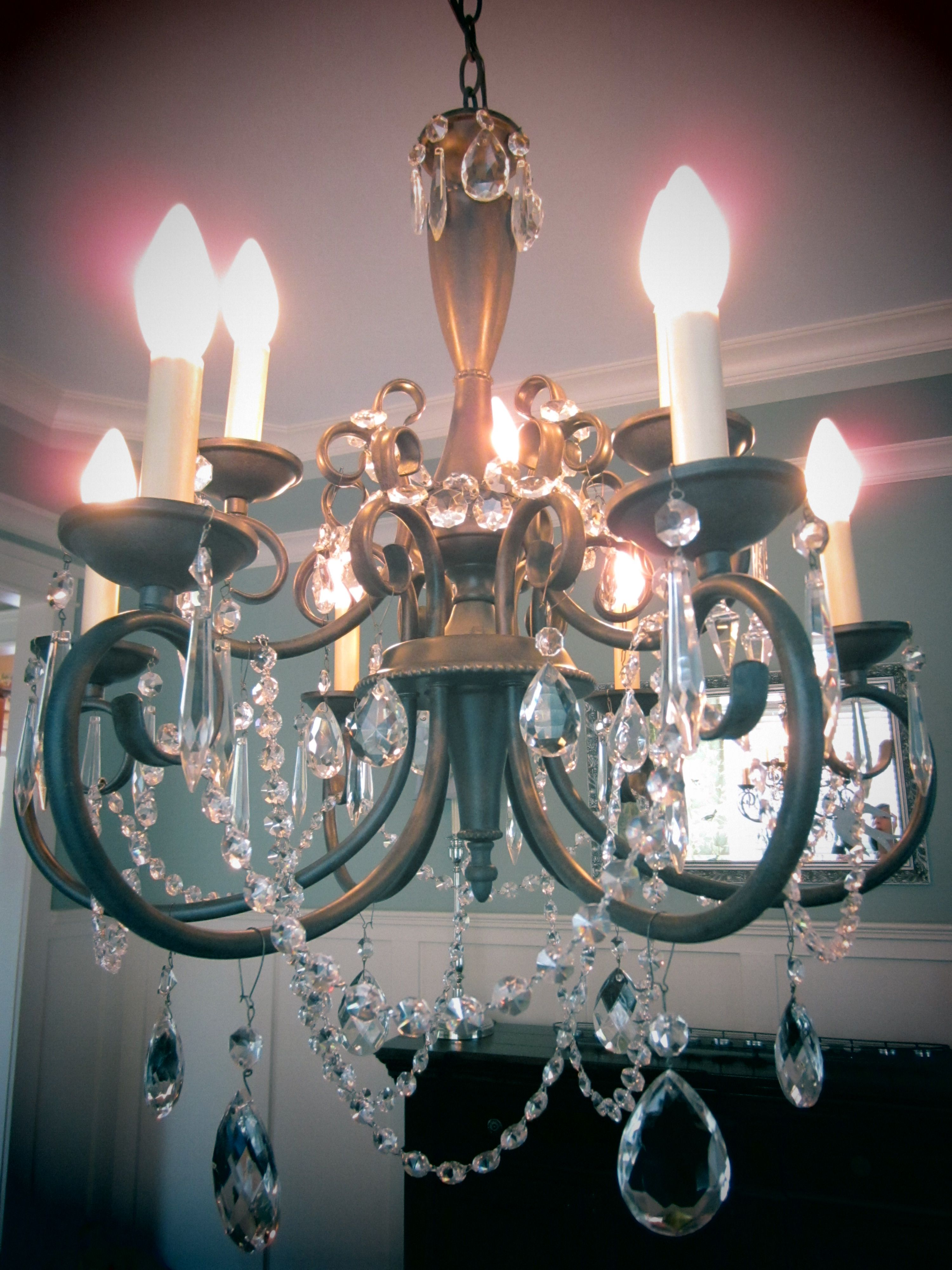 DIY Crystal Chandelier! I used vintage crystals and ...