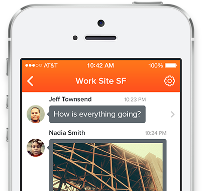 iphone with Voxer Messaging app, Work site