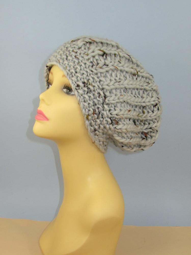 ec7736b46bd Super Chunky Moss Stitch Cuff Fishermans Rib Slouch Hat Knitting ...