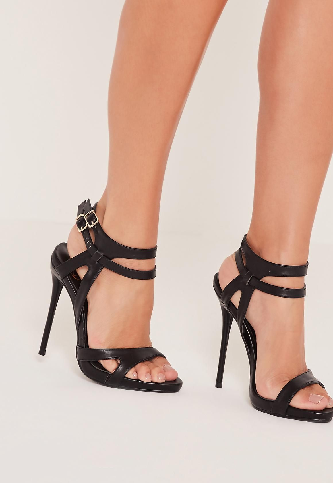 aca801e5cdd9 Double Ankle Strap Barely There Heeled Sandals Black - Missguided Heeled  Sandals