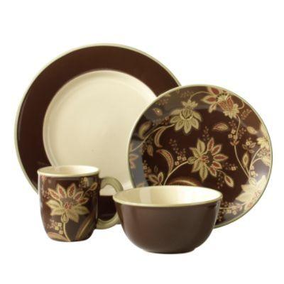 Jaclyn Smith Turkish Floral Brown Dinnerware Set   Dinnerware ...