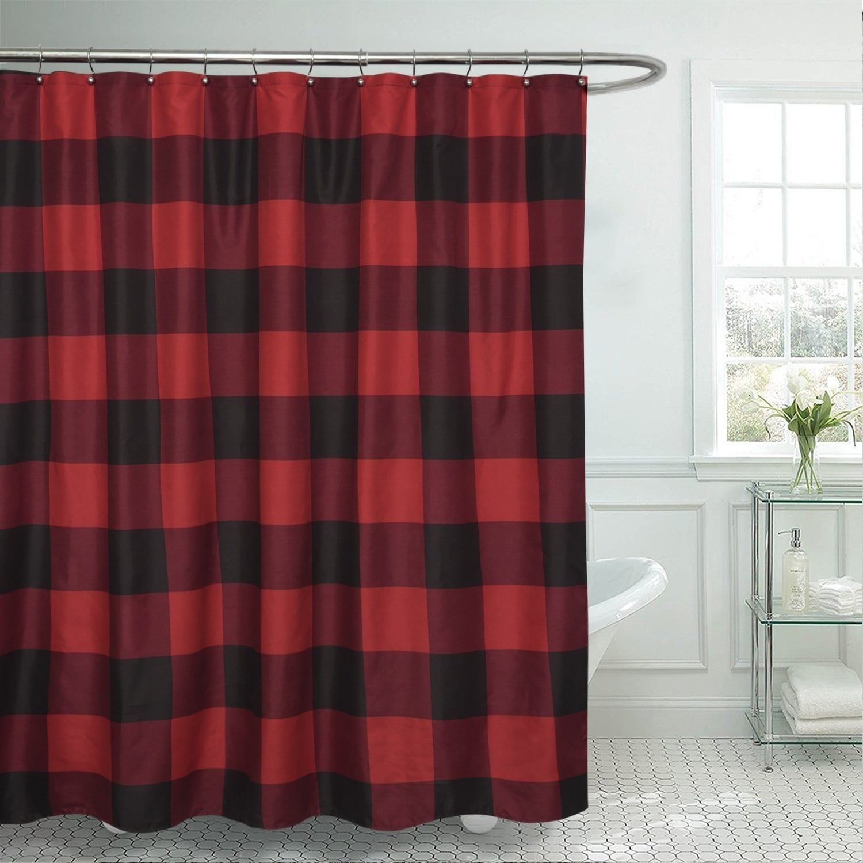 Buffalo Check Fabric Shower Curtain 72 X72 Burgundy Black