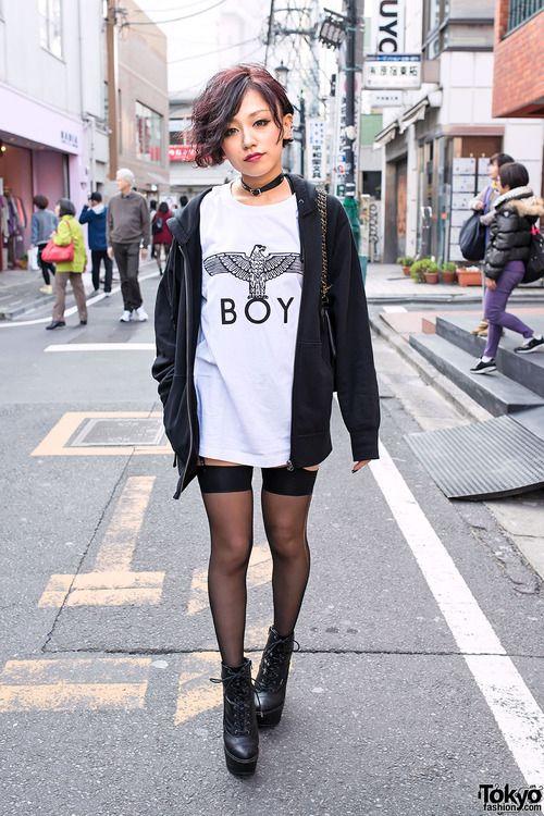 b93684f8f7d Cool short hairstyle, choker, Boy London & garter stockings ...