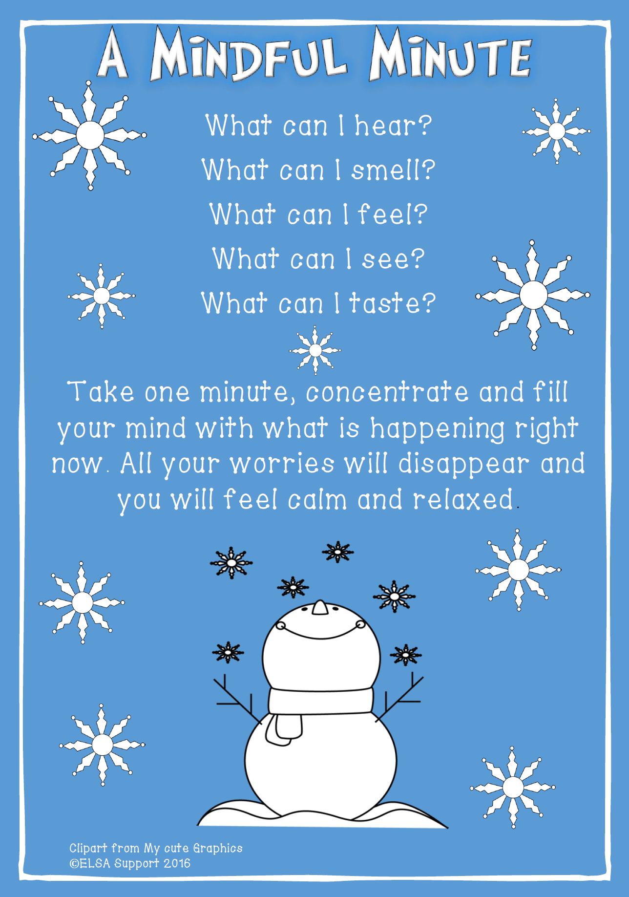 Living Advent Calendar Ideas : Mindful minute therapy print it pinterest