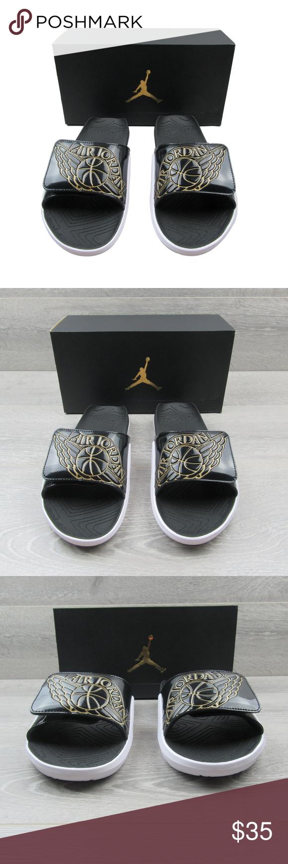 15670529add448 Air Jordan Hydro 7 Slides Sandals Air Jordan Hydro 7 Slides Sandals Black  Gold White Men s