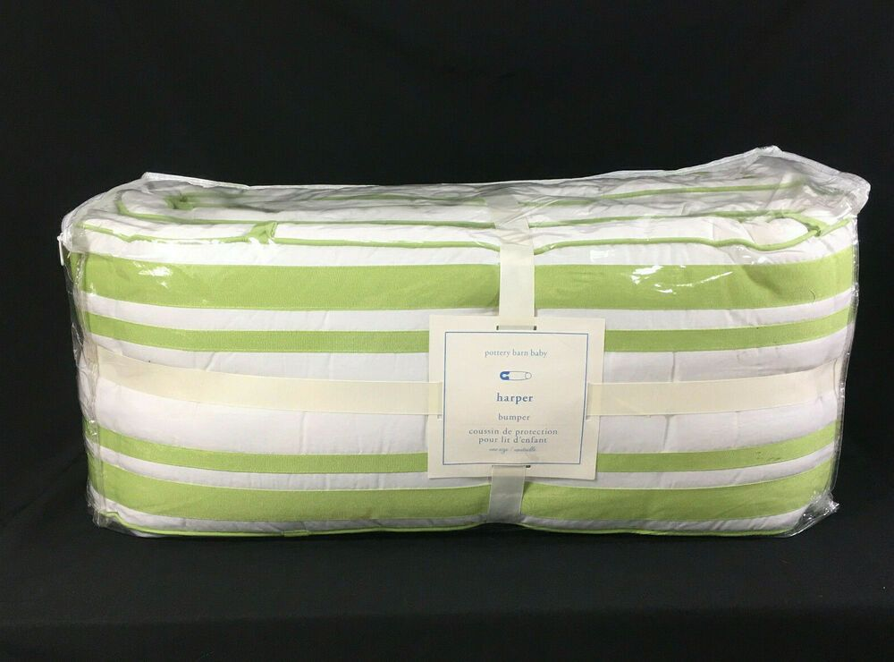 Pottery Barn Baby Crib Bumper Harper Green Sprout White