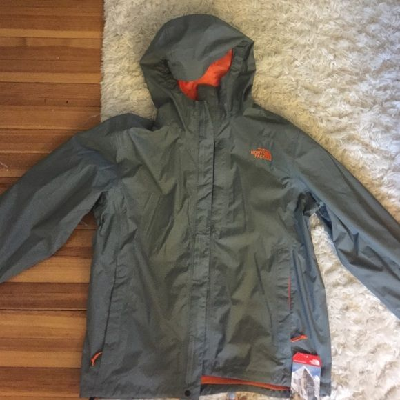 b45637370fe4 Men s North Face HyVent Jacket Grey North Face jacket with orange inside  and hood. Never worn. New with tags. North Face Jackets   Coats