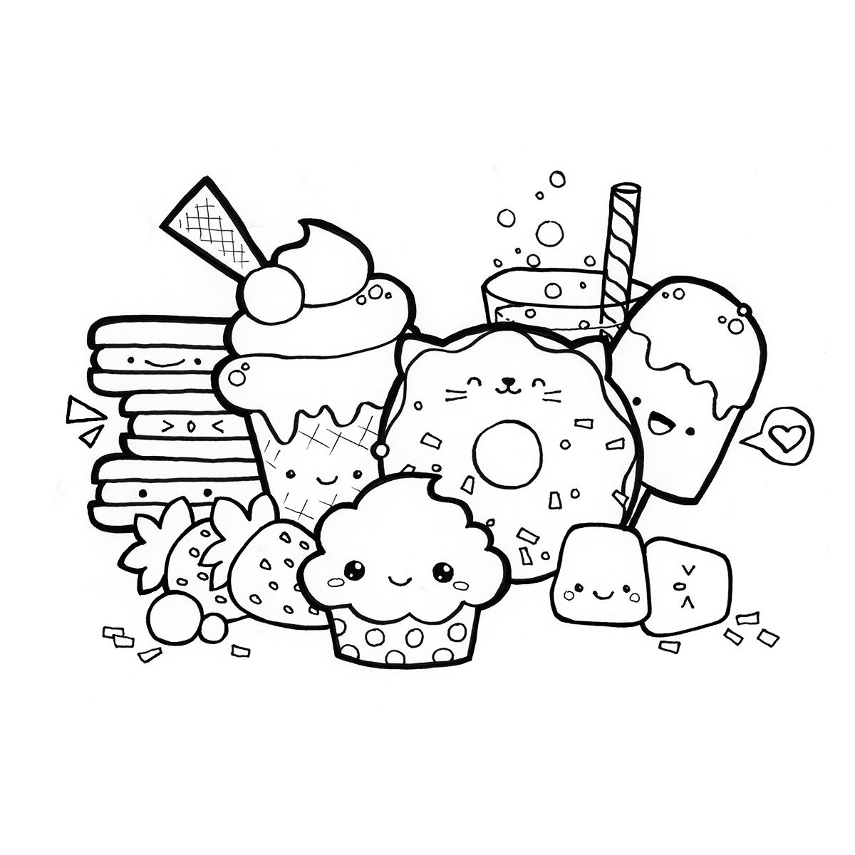 Coloring Pages Kawaii Food : Kawaii doodle food coloring page ★ download pdf at https