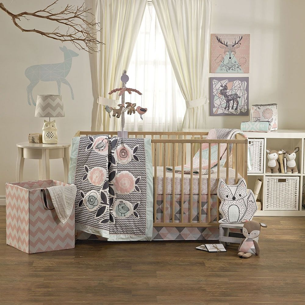 Sweet dreams, simplified: Thats what our four-piece bedding set offers. In coordinating prints and made from 100% cotton, your baby will sleep soundly in a crib that not only feels soft and cozy, but exudes personality. The Sparrow collection embodies classic femininity with a modern twist. Whimsical floral and animal prints mix and match perfectly with bolder graphic patterns, all in a soft pastel color palette.