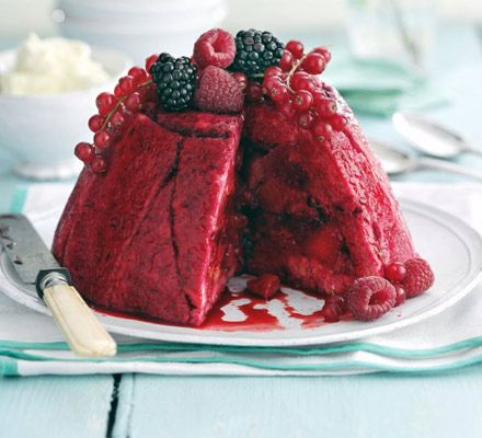 Celebrate gorgeous seasonal strawberries, raspberries, blackberries and redcurrants with this set basin brioche pud, from BBC Good Food.