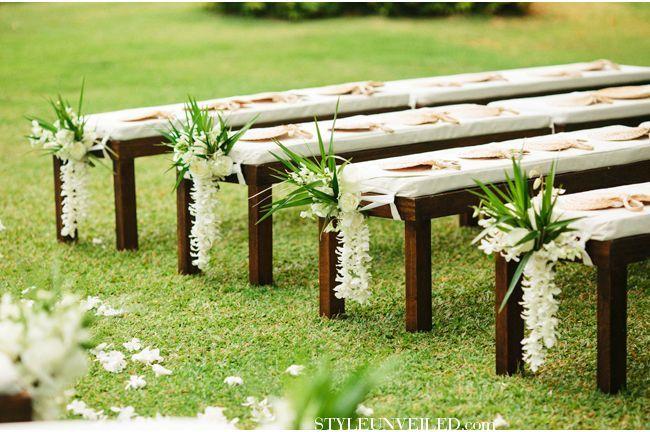 Outdoor Bench Seating For A Ceremony Hawaii Wedding Josh Elliott Photography Michelle Gariba Wedding Ceremony Seating Outdoor Wedding Wedding Bench Decor
