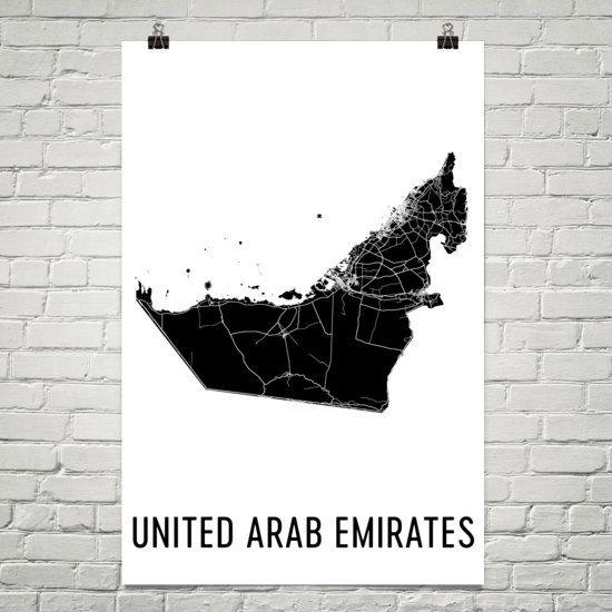uae map united arab emirates art map of united arab emirates uae decor uae gift print united arab emirates poster wall art