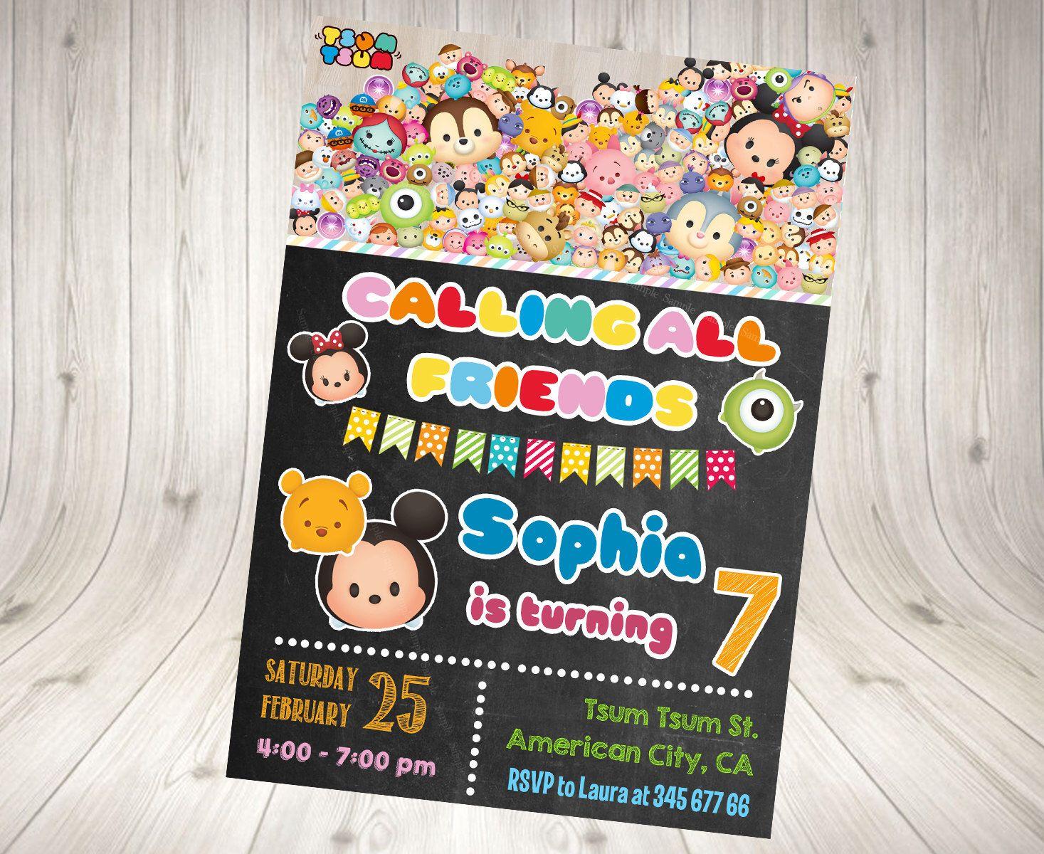 Tsum Tsum Invitation, Tsum Tsum Birthday Invitation, Tsum Tsum Party Printables.Tsum Tsum blackboard invitation. Tsum Tsum chalkboard by DecorationsLeon on Etsy https://www.etsy.com/listing/265474776/tsum-tsum-invitation-tsum-tsum-birthday