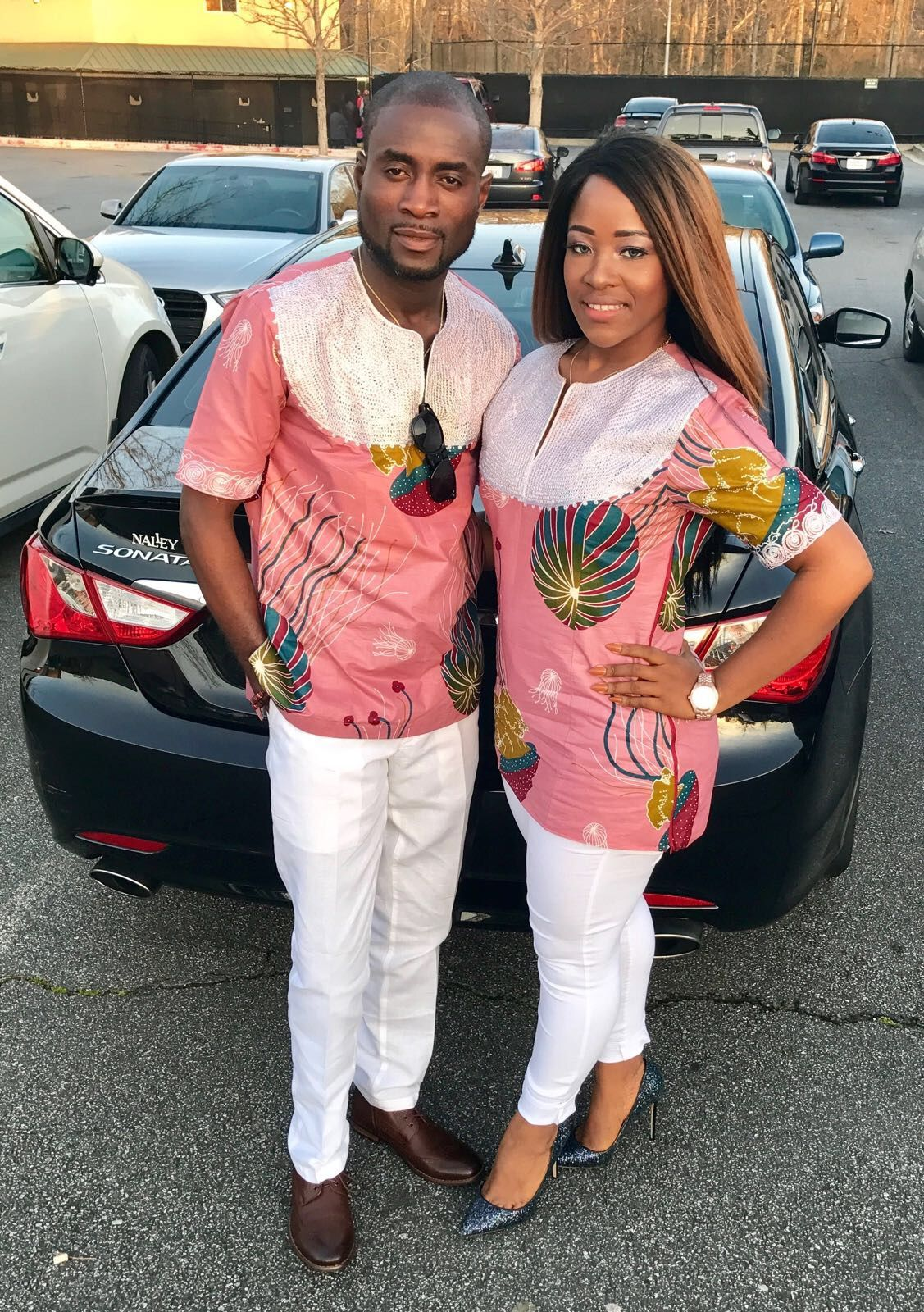 african style african couple african print africans pink & white ...