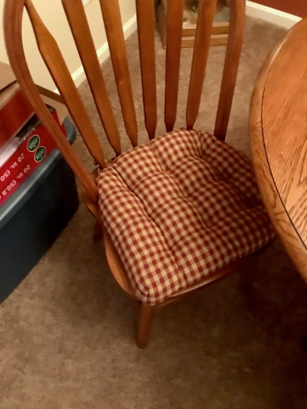 checkers red tan dining chair pads latex foam fill farmhouse