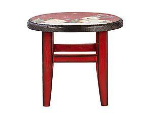 Sgabello in legno con seduta decorata let it snow rosso - 23x19 cm